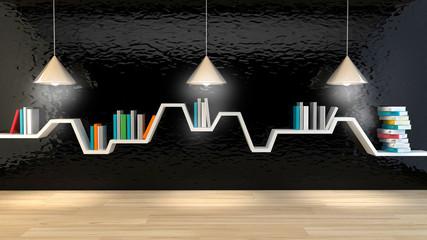 minimalist shelf over dramatic concrete background