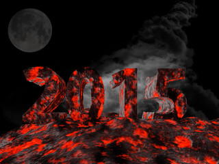 3d rendering of new year 2015 made from lava.