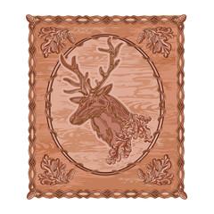 Deer and oak woodcarving hunting theme vintage vector