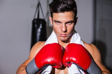 Close-up of a serious young male boxer
