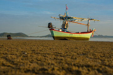 Fishing boat in the morning at Pranburi, Thailand