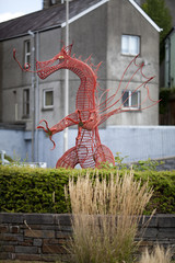 Red metal dragon in Carmarthen in South West Wales