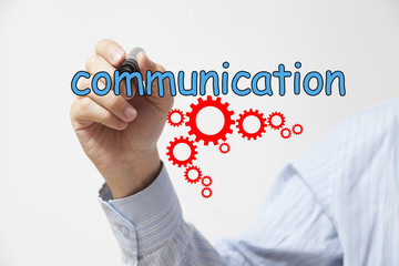 Hand drawing the word communication