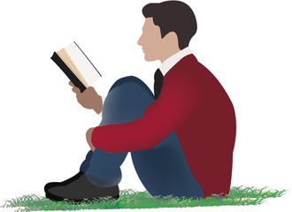 ragazzo seduto che legge