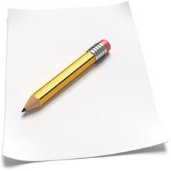 Blatt Papier gelber Bleistift