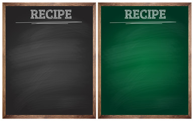 isolated blank black and green recipe blackboards or chalkboards