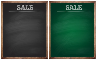 isolated sale black and green blackboards or chalkboards