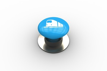 Composite image of train graphic on button