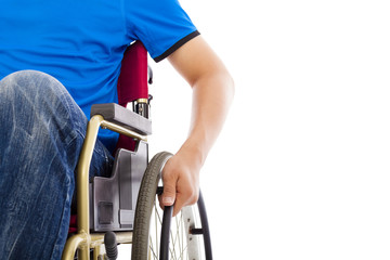 closeup of handicapped man sitting on a wheelchair