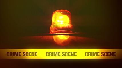Crime Scene Yellow Headband Tape and Orange Flashing Light