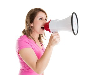 Side view of woman shouting into bullhorn