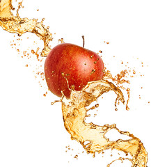 Splash juice with apple isolated on white