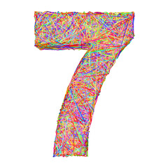 Number 7 composed of colorful striplines isolated on white