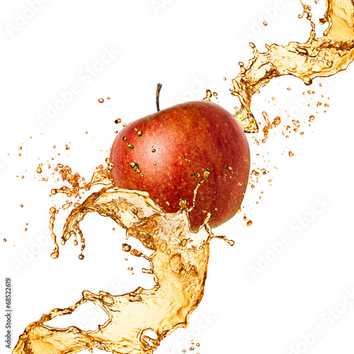 Splash juice with apple isolated on white - 68522619