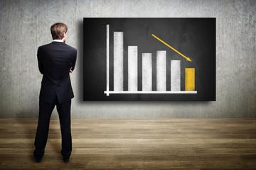 Geschäftsmann mit Diagramm und fallender Prognose