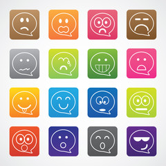 Set of smiley icon different emotion