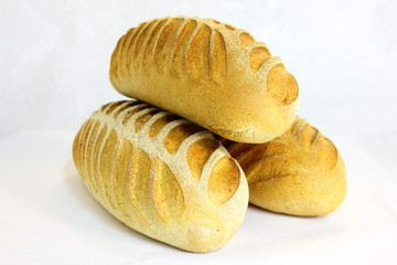 Rye bread loaf  over white background.
