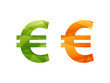 Shiny geometric euro currency sign icon badge vector