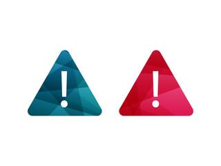 Colorful shiny geometric exclamation mark sign icon