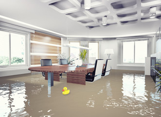 flooding office interior.