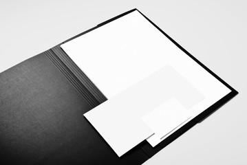 Folder, blank letterhead, envelope and business card