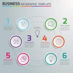 Light info graphic timeline template with icons, circle 6 steps,