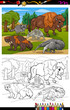 Постер, плакат: mammals animals cartoon coloring book