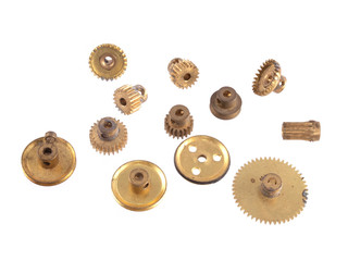 Gear wheels and cogs on a white background.