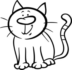 funny cat cartoon coloring page