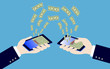 hand holding smart phone while transfer money,illustration,vecto
