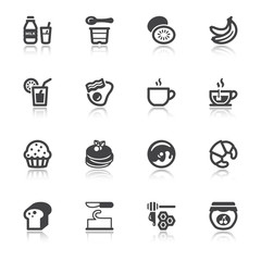 Beakfast flat icons with reflection