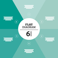 Green six sided full background flat stripe diagram vector