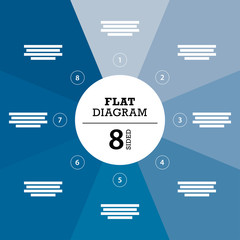Blue eight sided full background flat stripe diagram vector