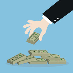 business man hand get money,illustration,vector