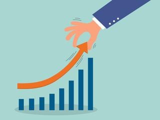 business man hand lift graph arrow higher,successful concept,ill