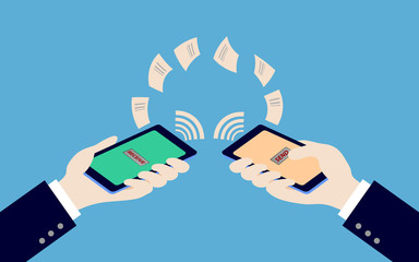 two hand holding smartphone while transfer data, illustration,ve