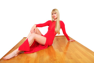 Pretty model shows floor in polished wood