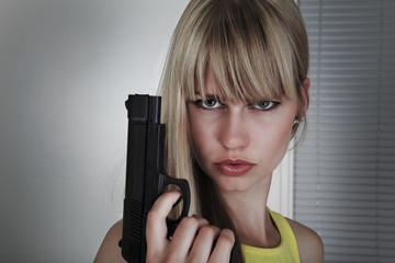 Girl gun action in alert mode