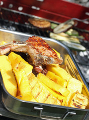 BBQ grilled meat and slices of yellow corn polenta 8