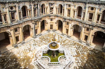 view of the beautiful Convent of Christ in Tomar, Portugal.