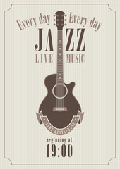 poster for a jazz concert with acoustic guitar