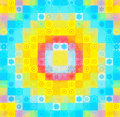 Color background with abstract mosaic