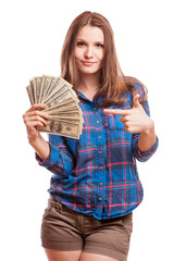 A young woman with dollars in her hands,