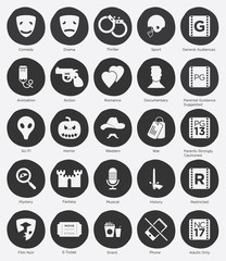 Set of Film Genres Icon and Film Rating System in Flat Design