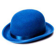 A stylish blue bowler hat