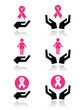 Pink ribbons - breast cancer awareness with hands icons set