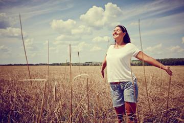 Carefree Woman in field