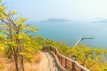 Beautiful seascape and stone hill.
