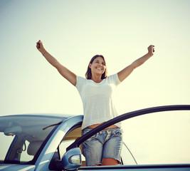 Happy car woman freedom