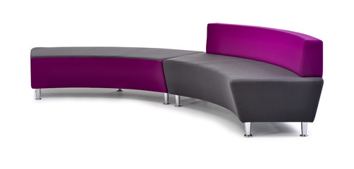 Modern purple sofa isolated on white background